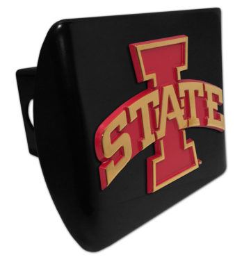 Iowa State Gold Plated Emblem on Black Metal Hitch Cover image