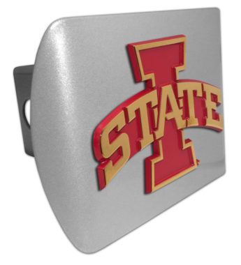 Iowa State Gold Plated Emblem on Brushed Chrome Hitch Cover