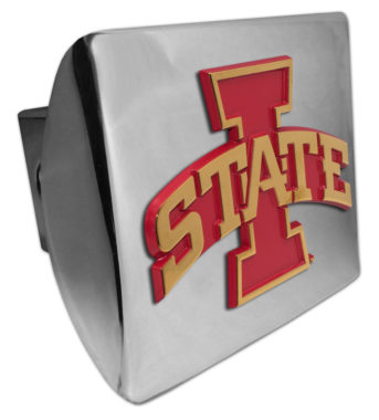 Iowa State Gold Plated Emblem on Chrome Hitch Cover