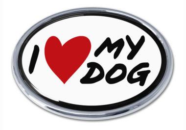 I Love My Dog Chrome Emblem