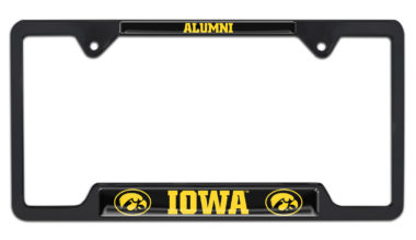 Iowa Alumni Black License Plate Frame