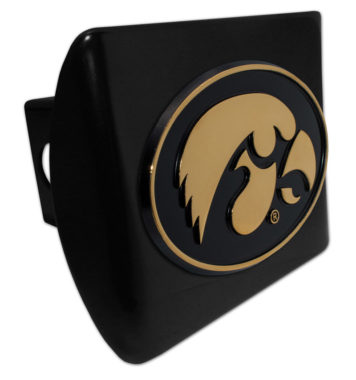 University of Iowa Gold Plated Emblem on Black Metal Hitch Cover