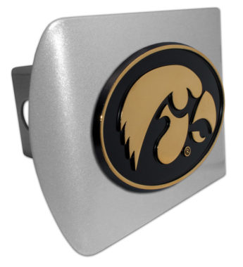 University of Iowa Gold Plated Emblem on Brushed Chrome Hitch Cover
