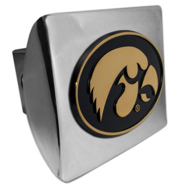 University of Iowa Gold Plated Emblem on Chrome Hitch Cover