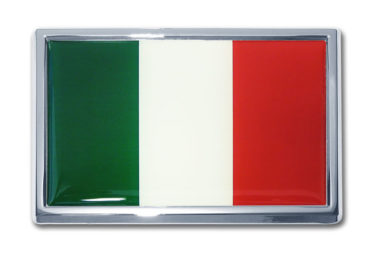 Large Italian Flag Chrome Emblem