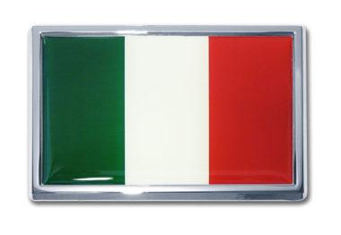 Large Italian Flag Chrome Emblem