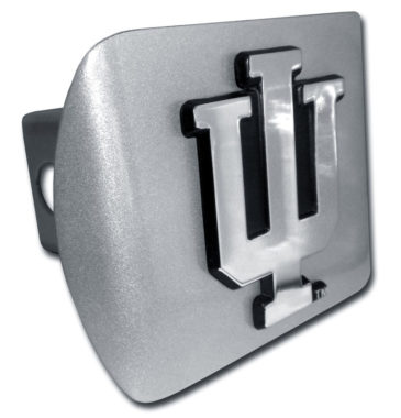 Indiana University Emblem on Brushed Hitch Cover
