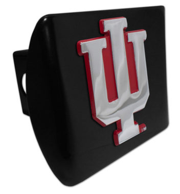 Indiana University Red Emblem on Black Hitch Cover