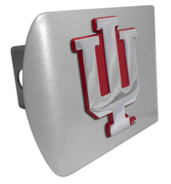 Indiana University Red Emblem on Brushed Hitch Cover