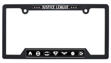 Justice League B&W Open Black Plastic License Plate Frame image