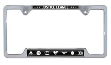 Justice League White Open License Plate Frame
