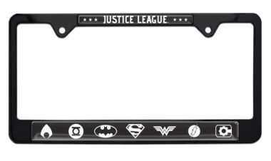 Justice League White and Black License Plate Frame image
