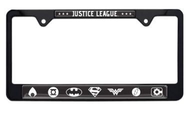 Justice League B&W Black License Plate Frame image