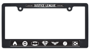 Justice League B&W Black Plastic License Plate Frame
