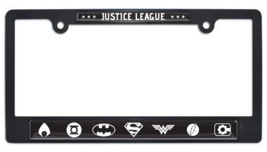 Justice League B&W Black Plastic License Plate Frame image