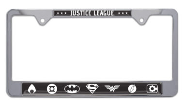 Justice League B&W Chrome License Plate Frame image