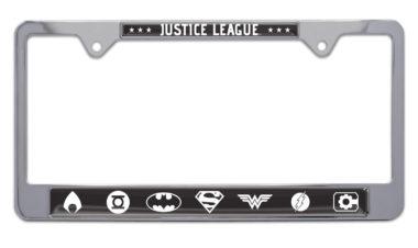 Justice League B&W Chrome License Plate Frame