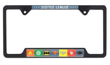 Justice League Color Open Black License Plate Frame image