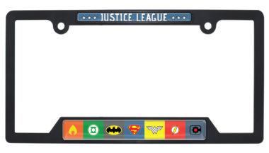 Justice League Color Open Black Plastic License Plate Frame image