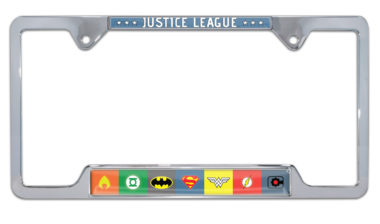 Justice League Color Open Chrome License Plate Frame image
