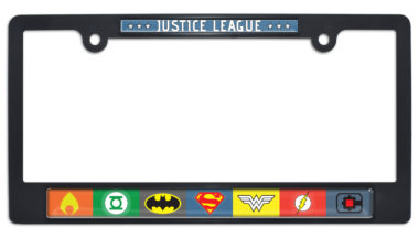Justice League Color Black Plastic License Plate Frame image