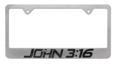 John 3:16 Brushed License Plate Frame