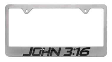 John 3:16 Brushed License Plate Frame