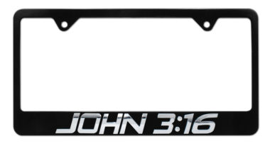 John 3:16 Black License Plate Frame image