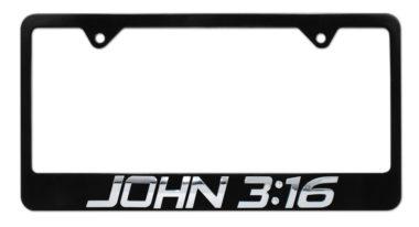 John 3:16 Black License Plate Frame image