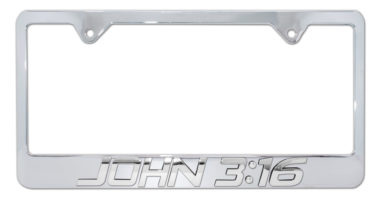 John 3:16 Chrome License Plate Frame image