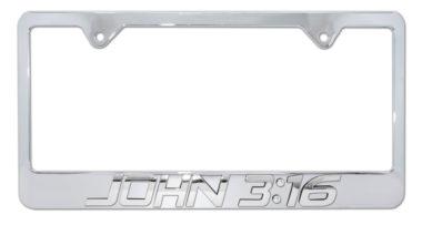 John 3:16 Chrome License Plate Frame image
