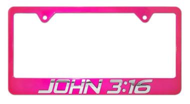 John 3:16 Pink License Plate Frame image