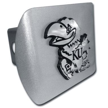 University of Kansas Emblem on Brushed Hitch Cover