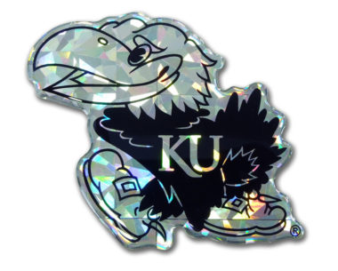 University of Kansas Silver 3D Reflective Decal