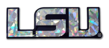 LSU Silver 3D Reflective Domed Decal image