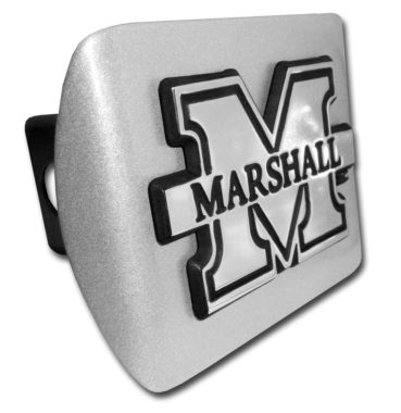 Marshall University Emblem on Brushed Hitch Cover