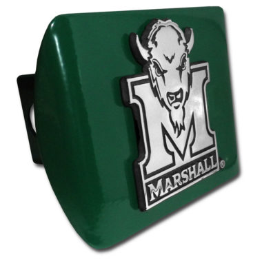 Marshall University Buffalo Emblem on Green Hitch Cover