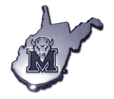 Marshall University State Shape Chrome Emblem