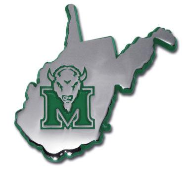 Marshall University State Shape Green Chrome Emblem