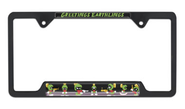 Marvin The Martian Open Black License Plate Frame