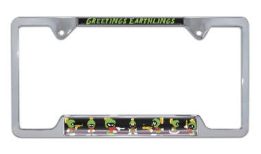 Marvin The Martian Open Chrome License Plate Frame