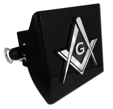 Masonic Emblem on Black Plastic Hitch Cover