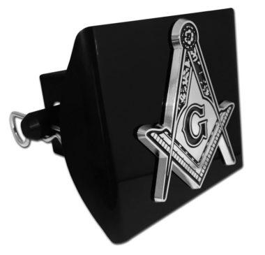 Masonic Detailed Emblem on Black Plastic Hitch Cover image