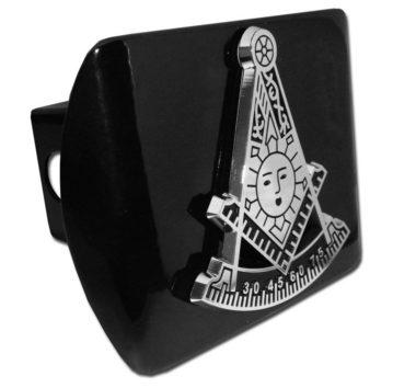 Masonic Past Master Emblem on Black Hitch Cover