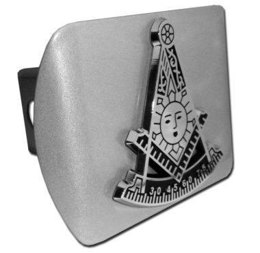Masonic Past Master Emblem on Brushed Hitch Cover