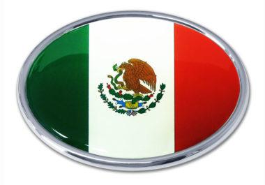 Mexican Flag Chrome Emblem