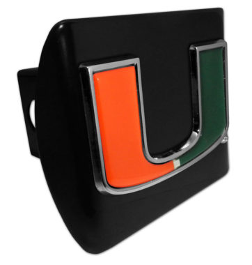 University of Miami Color Emblem on Black Hitch Cover