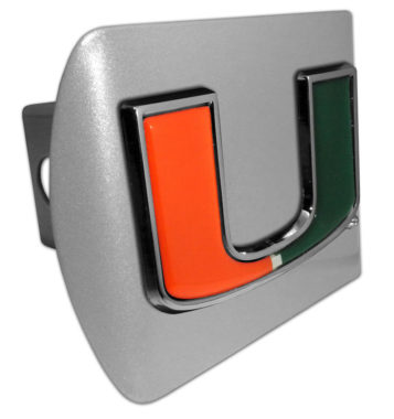 University of Miami Color Emblem on Brushed Hitch Cover