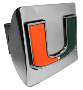 University of Miami Color Chrome Hitch Cover