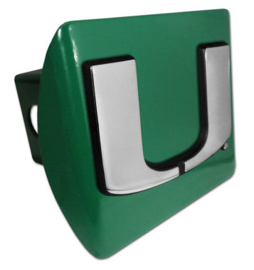 University of Miami Emblem on Green Hitch Cover
